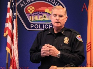 Albuquerque Police Chief Gorden Eden takes questions during a news conference in Albuquerque, N.M. on March 31, 2014. (Photo: Susan Montoya Bryan, AP)