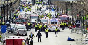 First responders work the scene of the Boston Marathon bombing in April 2013. Credit AP