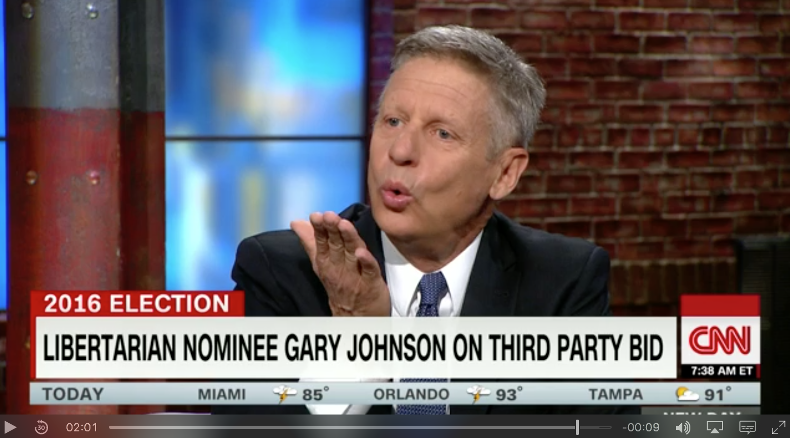 Libertarian presidential candidate Gary Johnson explains why he thinks Donald Trumps' views on Mexican immigrants are racist and blows the presumptive GOP nominee a kiss.