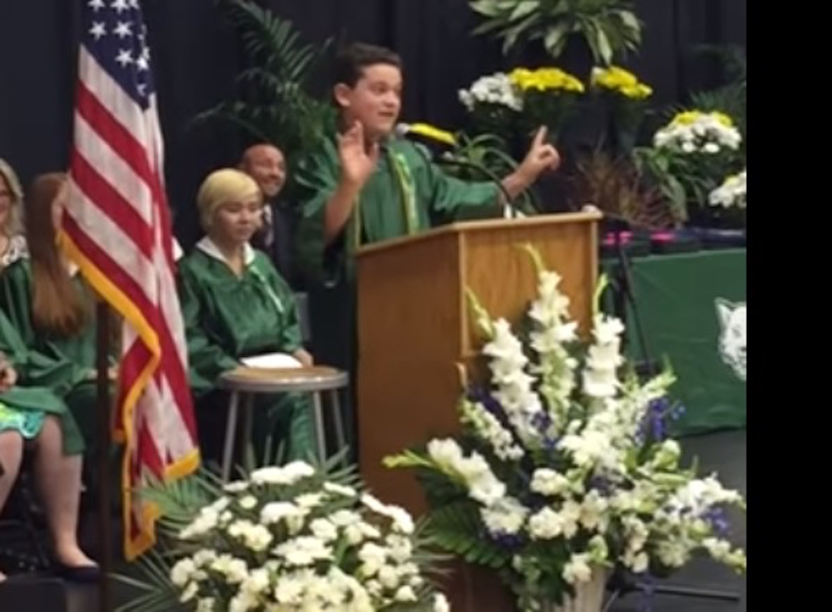 [MUST SEE VIDEO] 8th Grader Nails POTUS Candidate Impersonations During Graduation Speech