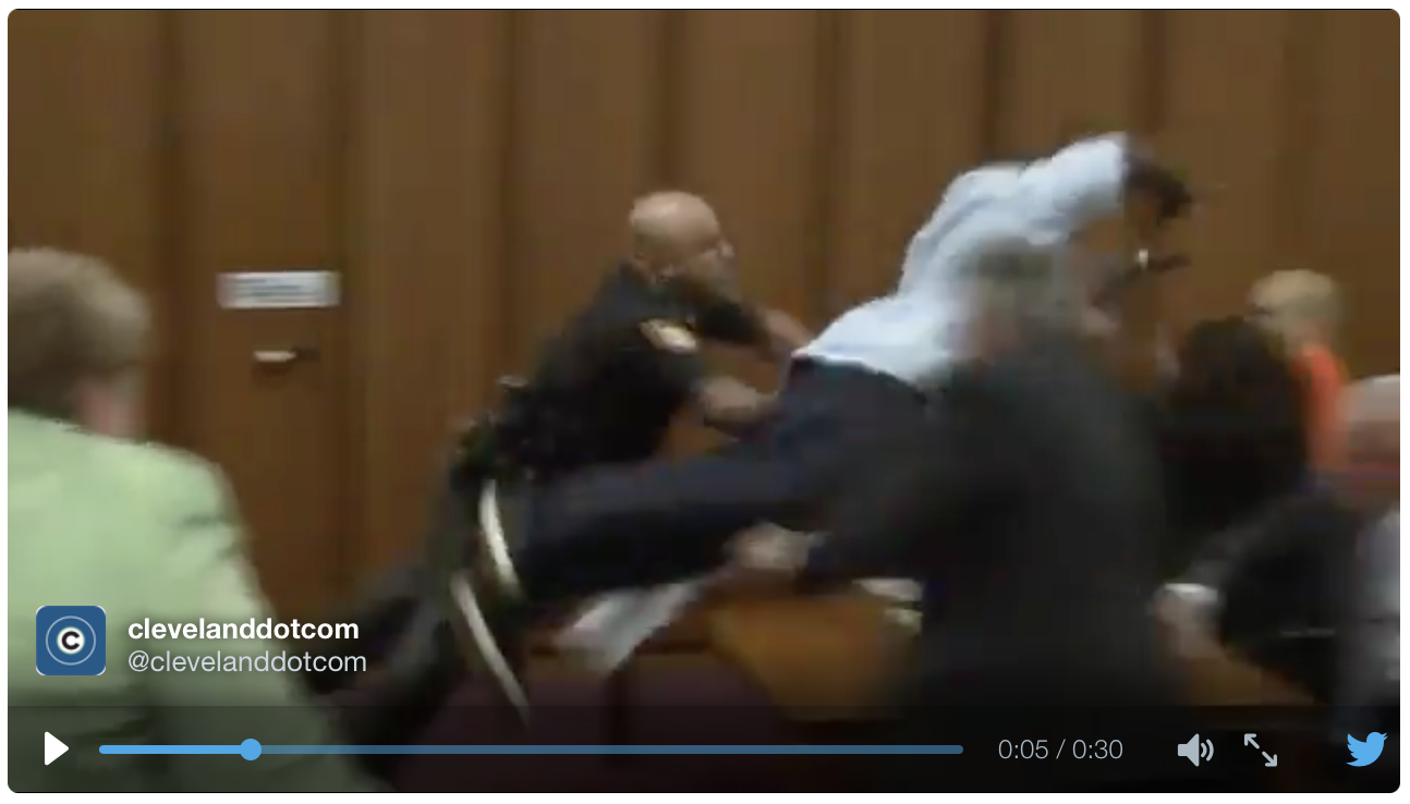 [WATCH] Sex Abuse Victim's Father Does A Flying Tackle, At Killer, In Court Room