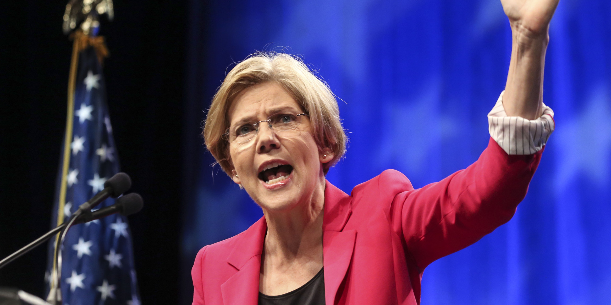 SPRINGFIELD, MA - JUNE 2: Elizabeth Warren speaks during the 2012 Massachusetts Democratic Endorsing Convention, held at the MassMutual Center in Springfield. (Photo by Aram Boghosian/The Boston Globe via Getty Images)