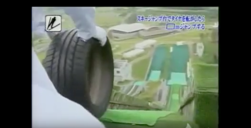 WATCH The Insanely Brilliant Tire Ski Jump Experiment