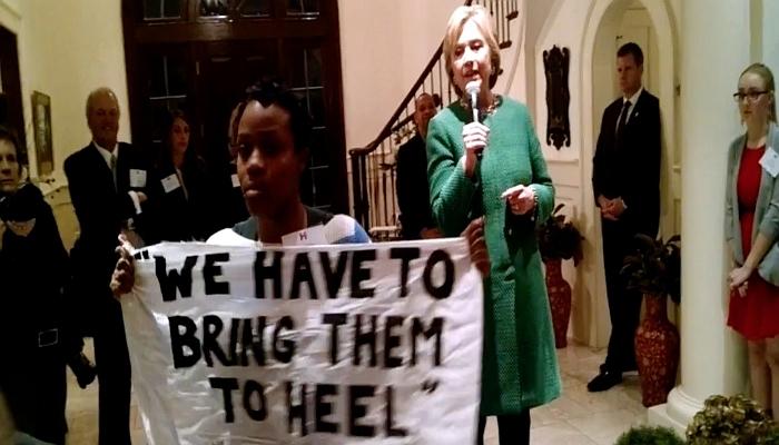 Hillary Clinton, Black Lives Matter protester, Screen shot Youtube