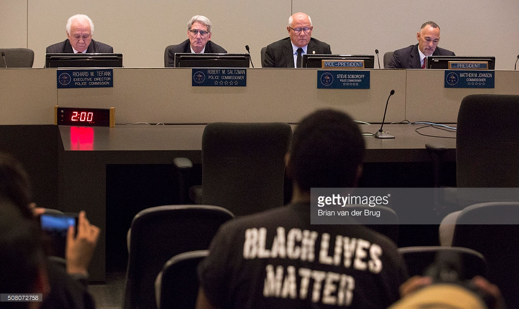 LOS ANGELES, CALIF. -- TUESDAY, FEBRUARY 2, 2016: The Los Angeles Police Commission, from left, Richard Tefank, Robert Saltzman, Steve Soboroff and Matthew Johnson found that officers did not violate deadly force policies when they fatally shot a homeless man on skid row last year during meeting at LAPD Headquarters in Los Angeles, Calif., on Feb. 2, 2016. (Brian van der Brug / Los Angeles Times)