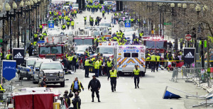 First responders work the scene of the Boston Marathon bombing in April 2013. Credit AP