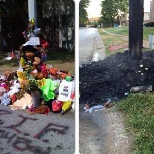 UP IN SMOKE: Michael Brown Memorial Burns Down in Ferguson
