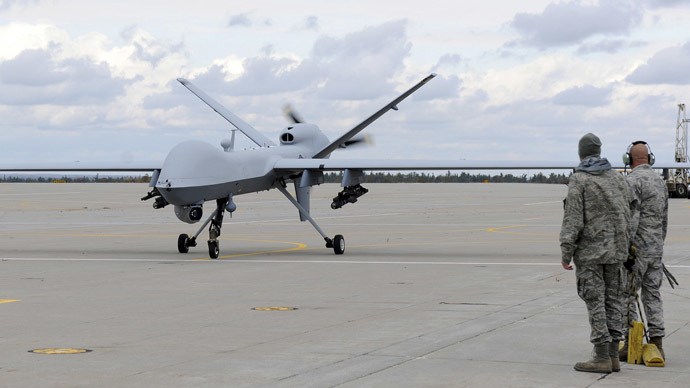 A U.S. Air Force MQ-9 Reaper unmanned aerial vehicle assigned to the 174th Fighter Wing prepares to take off from Wheeler-Sack Army Airfield at Fort Drum, N.Y. in this October 18, 2011. (Reuters/U.S. Air Force/Staff Sgt. Ricky Best