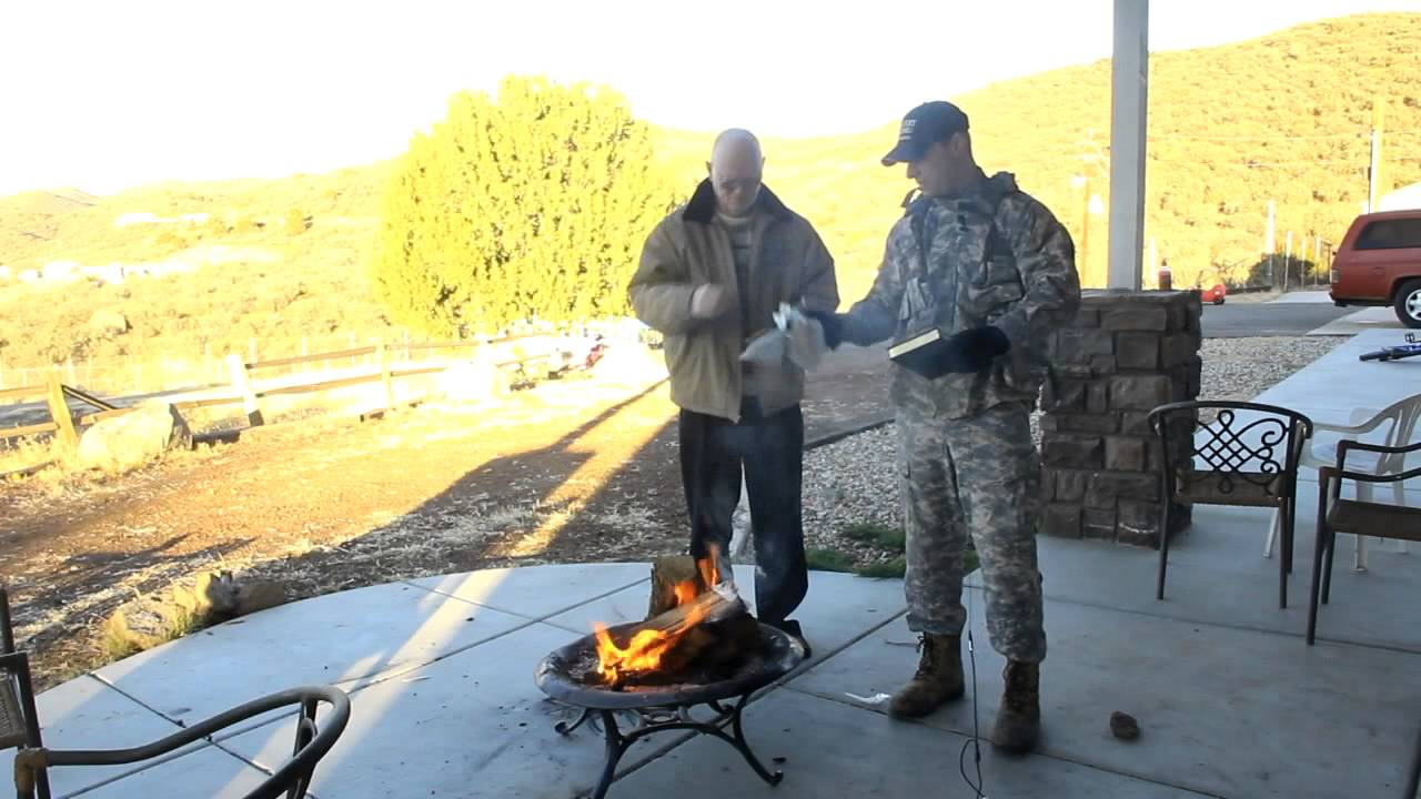 Watch as patriot Blaine Cooper wraps a Koran in bacon, shoots it with arrows, and burns it completely to hell.