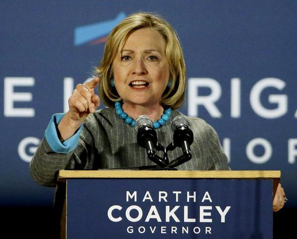 Former Secretary of State Hillary Rodham Clinton addresses supporters of Massachusetts Democratic gubernatorial candidate Martha Coakley during a Coakley campaign event at the Park Plaza Hotel in Boston, Friday, Oct. 24, 2014. (AP Photo/Stephan Savoia) AP Photo/Stephan Savoia