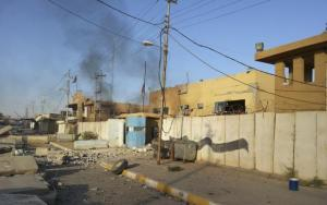 A damaged police station is seen in the Anbar province town of Hit October 6, 2014. CREDIT: REUTERS/STRINGER