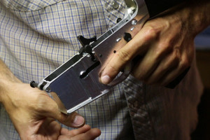An AR-15 lower receiver created with Defense Distributed's CNC mill, the Ghost Gunner.  Defense Distributed