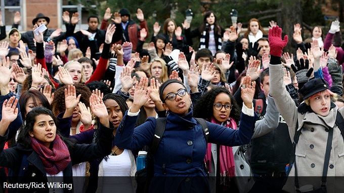 [WATCH] RIDICULOUSNESS As Thousands Of People Participate In #HandsUpWalkOut Rallies Across US In Protest of Ferguson Decision