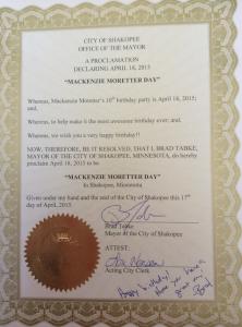 City of Shakopee Mayor Brad Tabke declared April 18 Mackenzie Moretter day