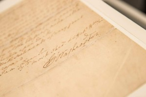 NEW YORK, NY - JUNE 17:  The signature of George Washington, the first president of the United States, is seen on a letter he wrote regarding the United States' constitution, at Christie's Auction House on June 17, 2013 in New York City. The letter is expected to be sold for $1,000,000 - $2,000,000.  (Photo by Andrew Burton/Getty Images)