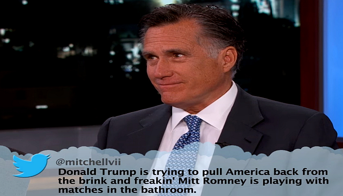 [VIDEO] Romney Reads Donald Trump Mean Tweets on Jimmy Kimmel, And Is Actually Funny!