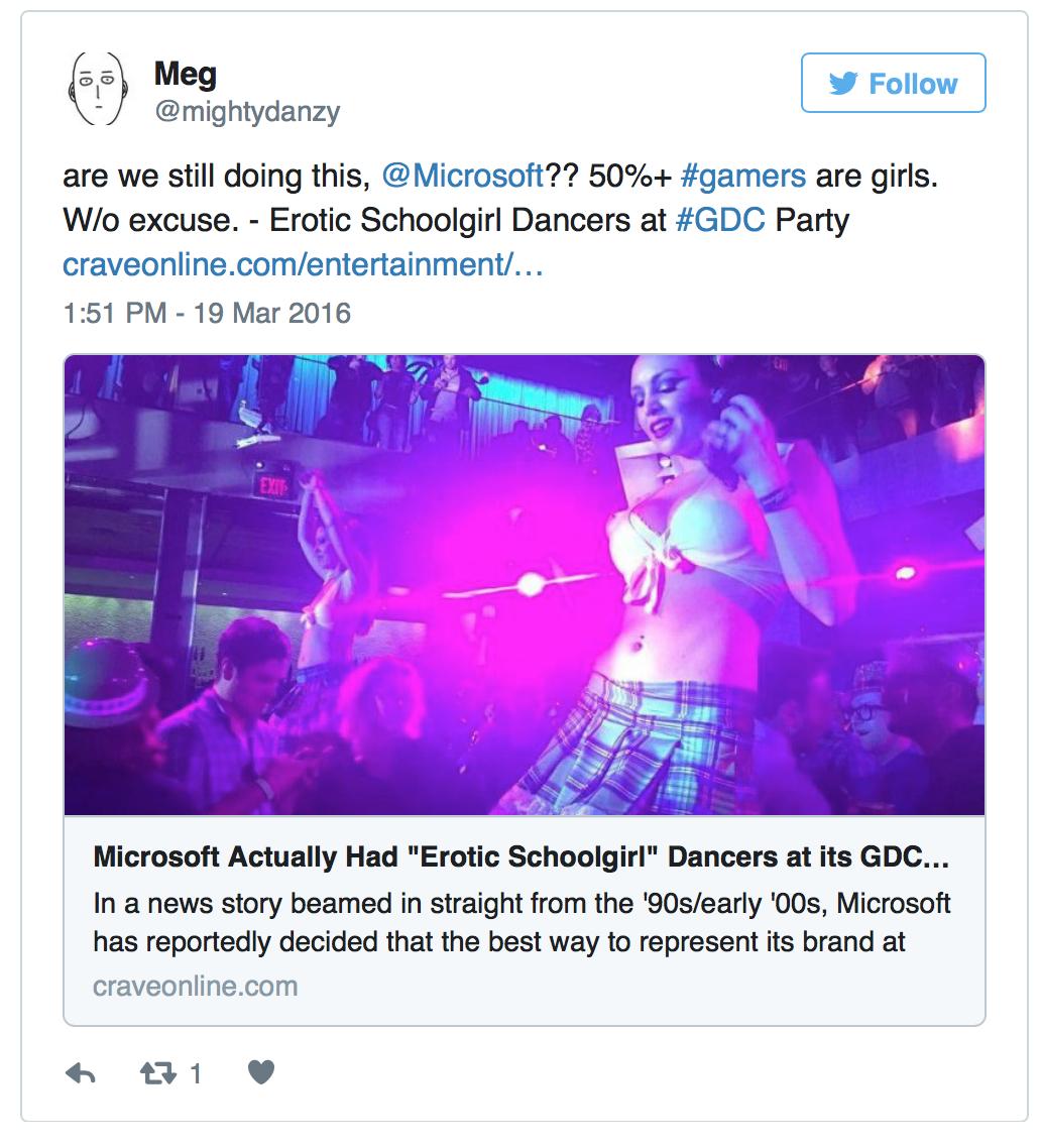 """Microsoft Hires EROTIC SCHOOLGIRL """"DANCERS"""" For It's GDC Party!"""