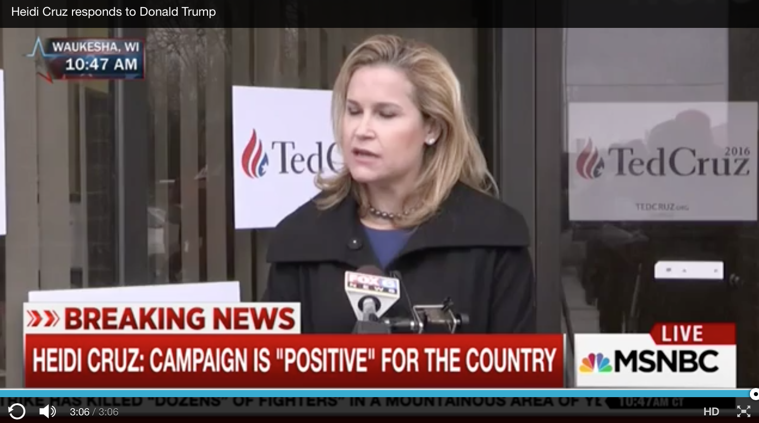 [VIDEO] Heidi Cruz (And Ted Cruz) Take The Bait And Responds To The Donald's Attack