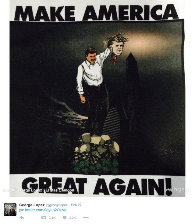George Lopez Tweets Gruesome Photo of El Chapo Beheading Trump
