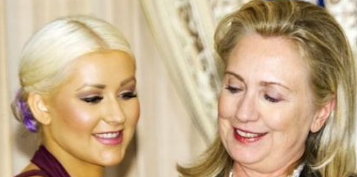 Hillary Can't Take Her Eyes Off Christiana's Bosoms