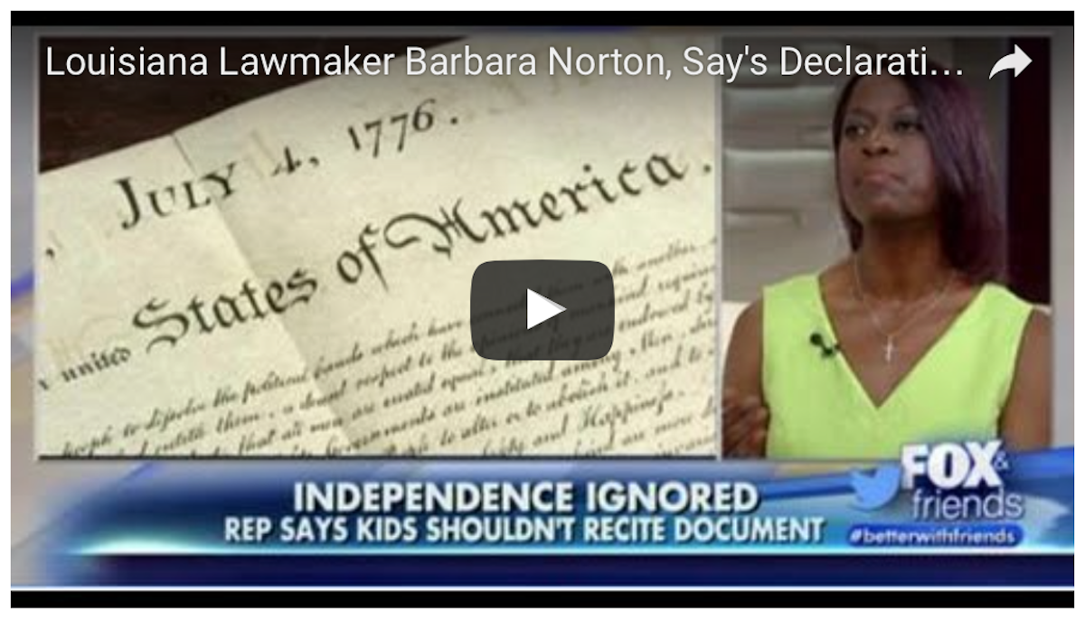 [WATCH] This Louisiana Lawmaker Declare The Declaration Of Independence: RACIST!