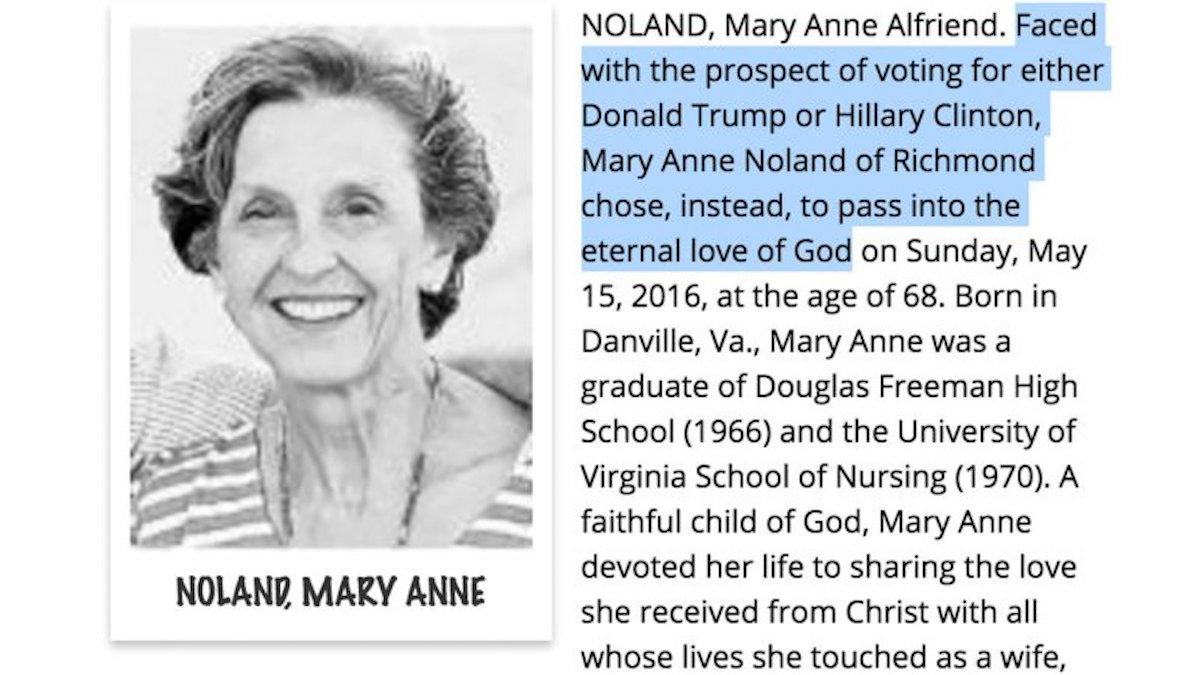 Obituaries Reveal People Choosing Death Over Choosing Candidates