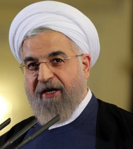 "Iranian President Hassan Rouhani speaks during a press conference in Tehran on April 3, 2015. Iran vowed to stand by a nuclear deal with world powers as Rouhani promised it would open a ""new page"" in the country's global ties. AFP PHOTO/ATTA KENARE (Photo credit should read ATTA KENARE/AFP/Getty Images)"