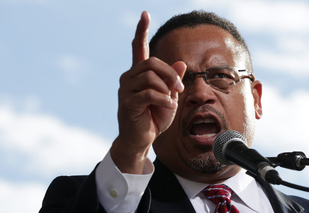 WASHINGTON, DC - DECEMBER 07:  U.S. Rep. Keith Ellison (D-MN) (C) speaks during a rally on jobs December 7, 2016 at Freedom Plaza in Washington, DC. Our Revolution and Good Jobs Nation, the organizer, held a rally lead by Sen. Bernie Sanders (I-VT) to demand good jobs and workers' rights from the incoming President-elect Donald Trump administration.  (Photo by Alex Wong/Getty Images)