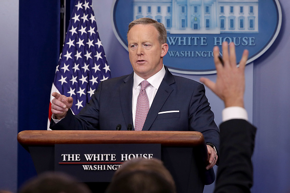 WASHINGTON, DC - JANUARY 23:  White House Press Secretary Sean Spicer holds the daily press briefing in the James Brady Press Briefing Room at the White House January 23, 2017 in Washington, DC. Other than delivering a statement on Saturday critical of reporting about President Donald Trump's inauguration, this will be Spicer's first news conference at the White House.  (Photo by Chip Somodevilla/Getty Images)