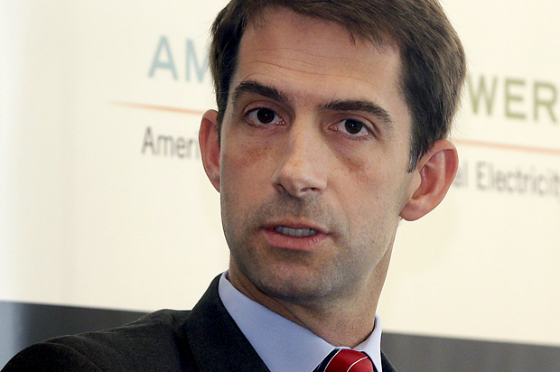 U.S. Rep. Tom Cotton, R-Ark., is interviewed at a Real Clear Politics event in Little Rock, Ark., Thursday, Sept. 25, 2014. (AP Photo/Danny Johnston)