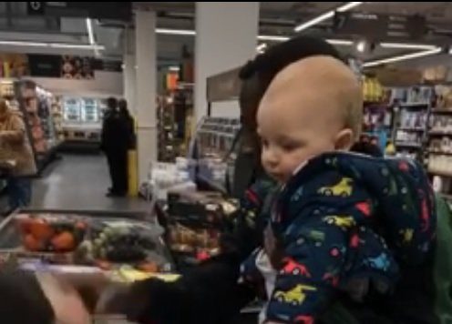 Grocery Store Clerk Takes Screaming Baby Away From Mother