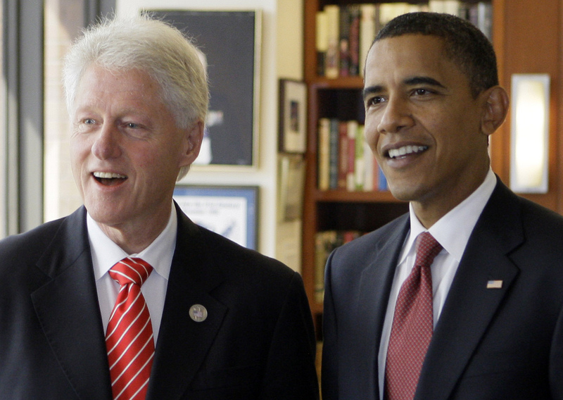 Democratic presidential candidate Sen. Barack Obama, D-Ill. meets with former President Bill Clinton in New York, Thursday, Sept. 11, 2008.  (AP Photo/Chris Carlson)