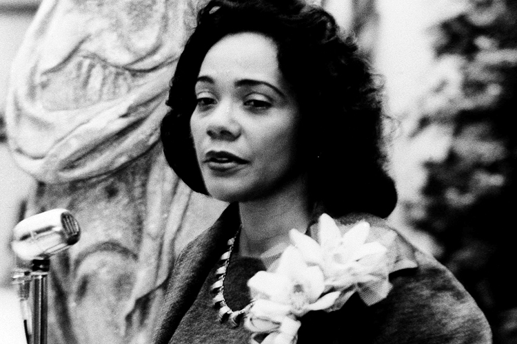 Coretta Scott King, wife of Dr. Martin Luther King Jr. reviews the civil rights struggle at a news conference prior to a Freedom concert in Trenton, New Jersey, Oct. 14, 1965. (AP Photo)