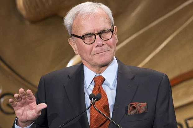 Journalist and winner of a personal Peabody Award for his work, Tom Brokaw, speaks after winning the award in New York May 19, 2014. The Peabody Awards are awarded annually by the University of Georgia to recognize achievement and meritorious public service in television, radio, and on the internet. REUTERS/Lucas Jackson (UNITED STATES - Tags: MEDIA ENTERTAINMENT) - RTR3PWM4