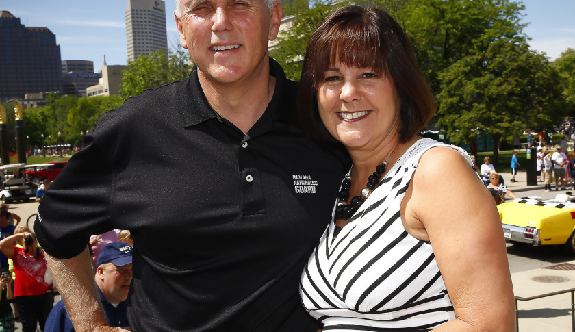 INDIANAPOLIS, IN - MAY 24: Indiana governor Mike Pence and wife Karen Pence attends the 2014 IPL 500 Festival Parade during the 2014 Indy 500 Festival at  on May 24, 2014 in Indianapolis, Indiana. (Photo by Michael Hickey/Getty Images)