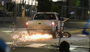 Antifa attacks pick-up truck in Portland, tries to block it with motorbike, but the driver wasn't going to be another victim!