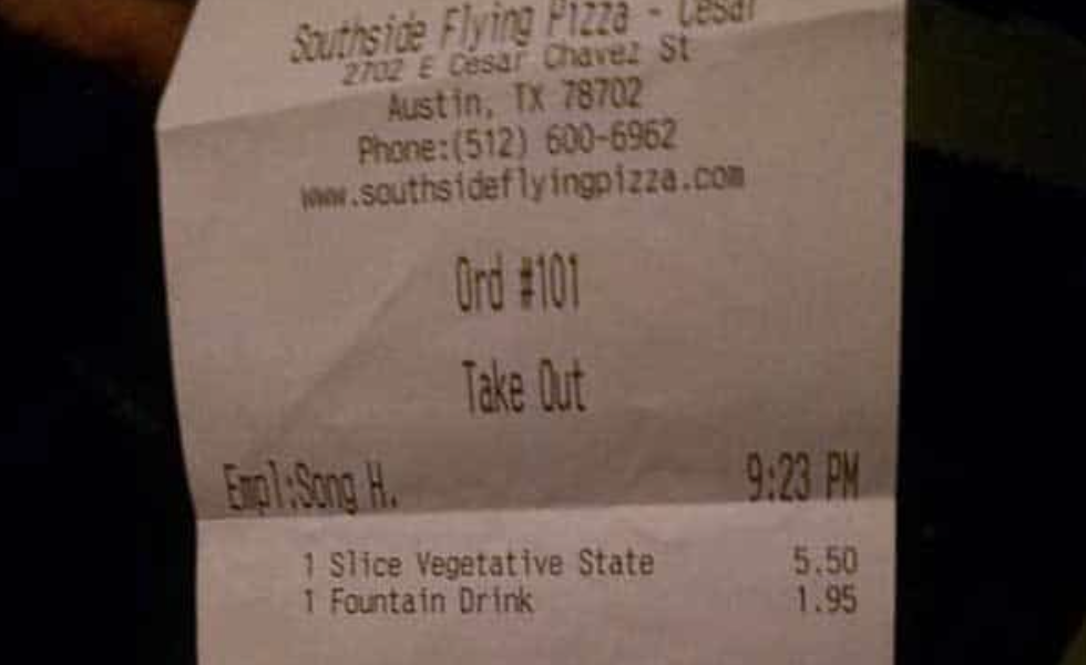 An Officer Gets His Pizza And Walks Away, Then Notices What's On The Receipt; Look Closer!